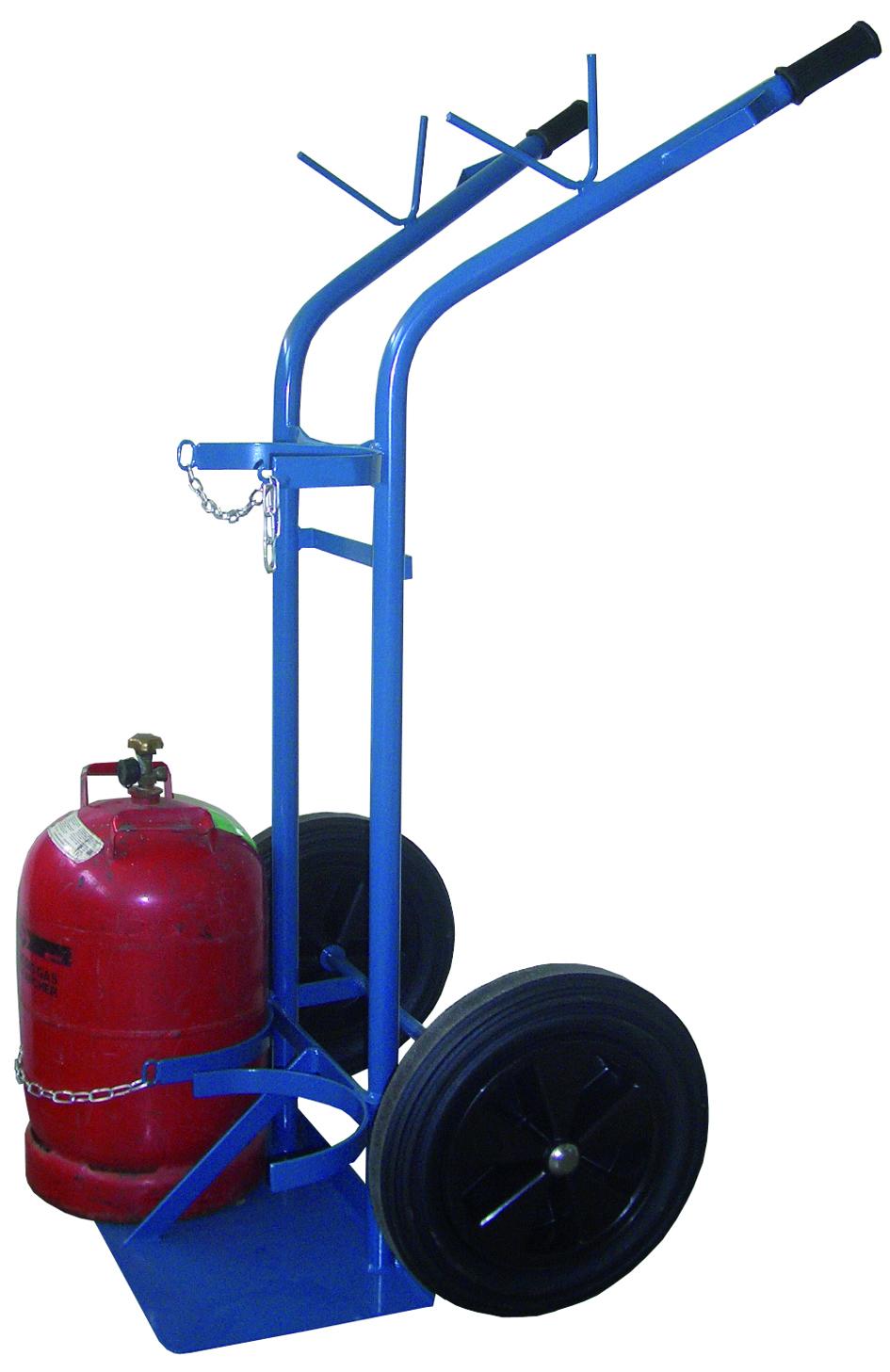Flaschenwagen 1 x 50 L + 1 x 33 kg (oder 11 kg) Propan, WZ-Kasten, Luftreifen